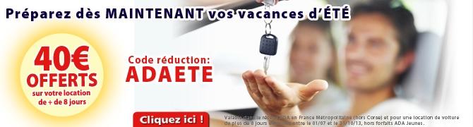 ADA location - 40 euros offerts sur votre location de voiture